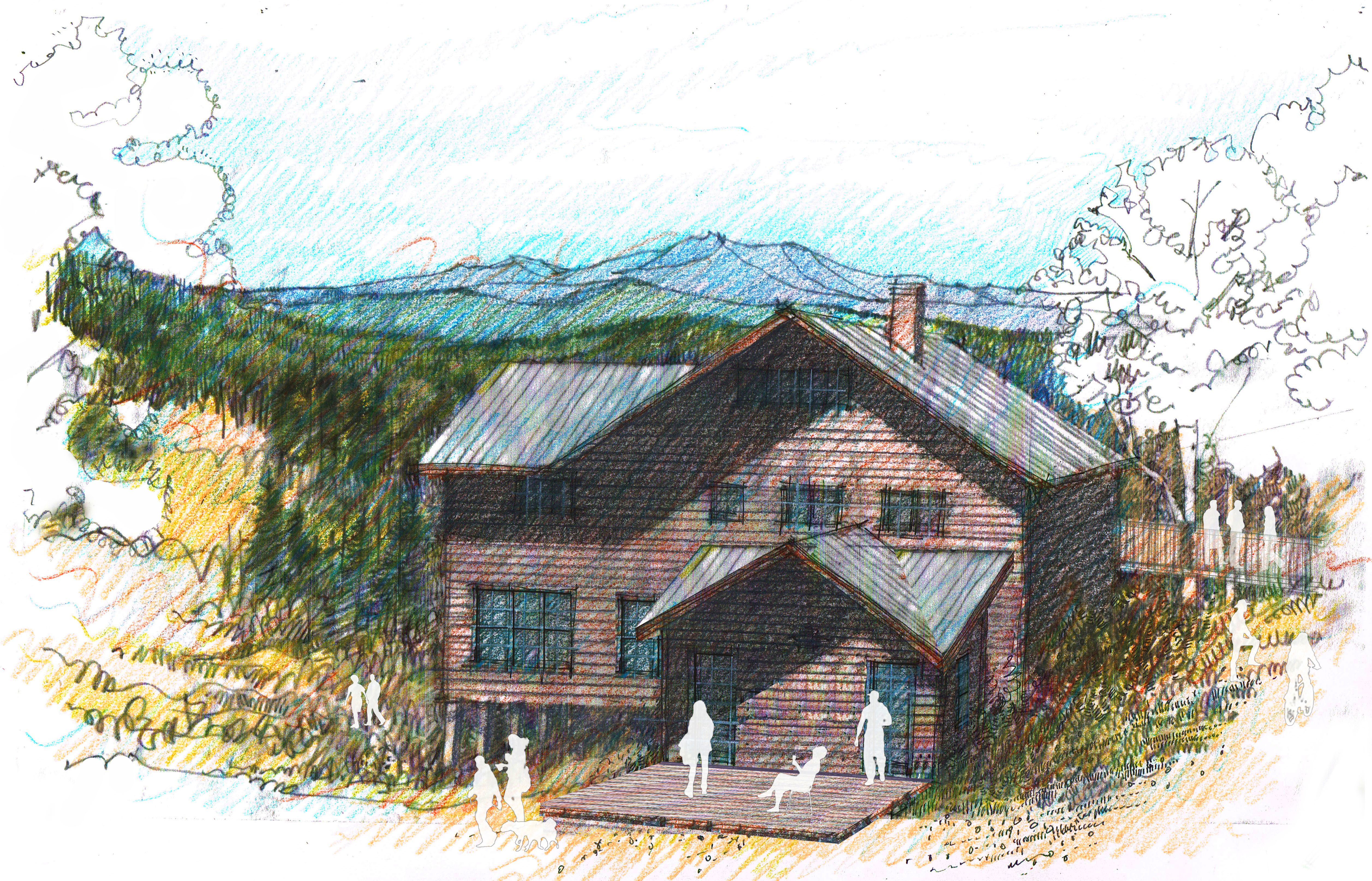 Sketch of proposed addition to retreat center
